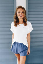 Load image into Gallery viewer, Chelsea Rolled Sleeve Top In Ivory - Adaline Rae Boutique