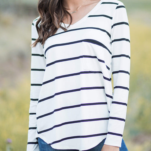Womens XXS White with Black Stripe Long Sleeve Perfect Pocket Tee