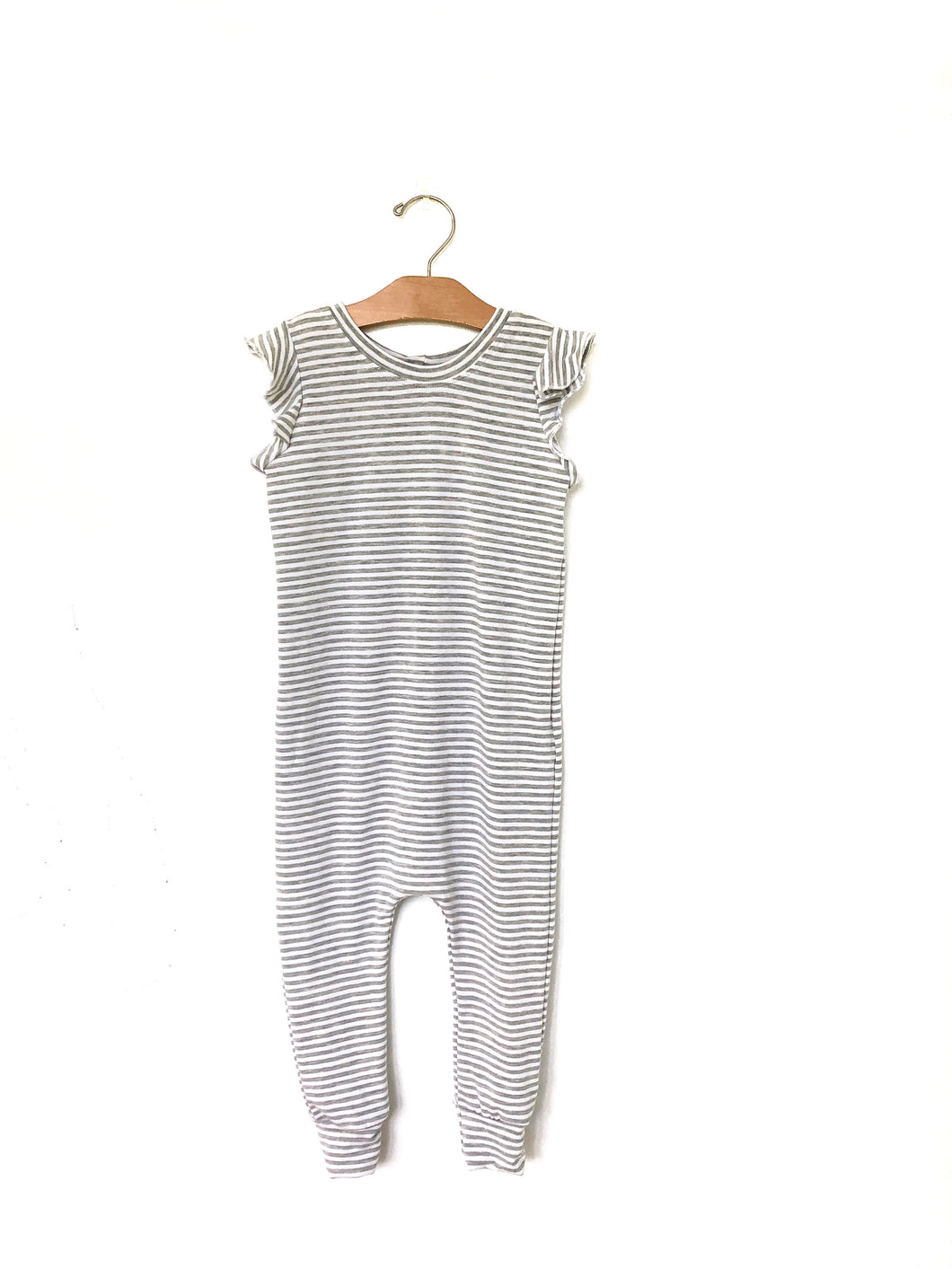 Coverall Romper - Grey Stripe Flutter