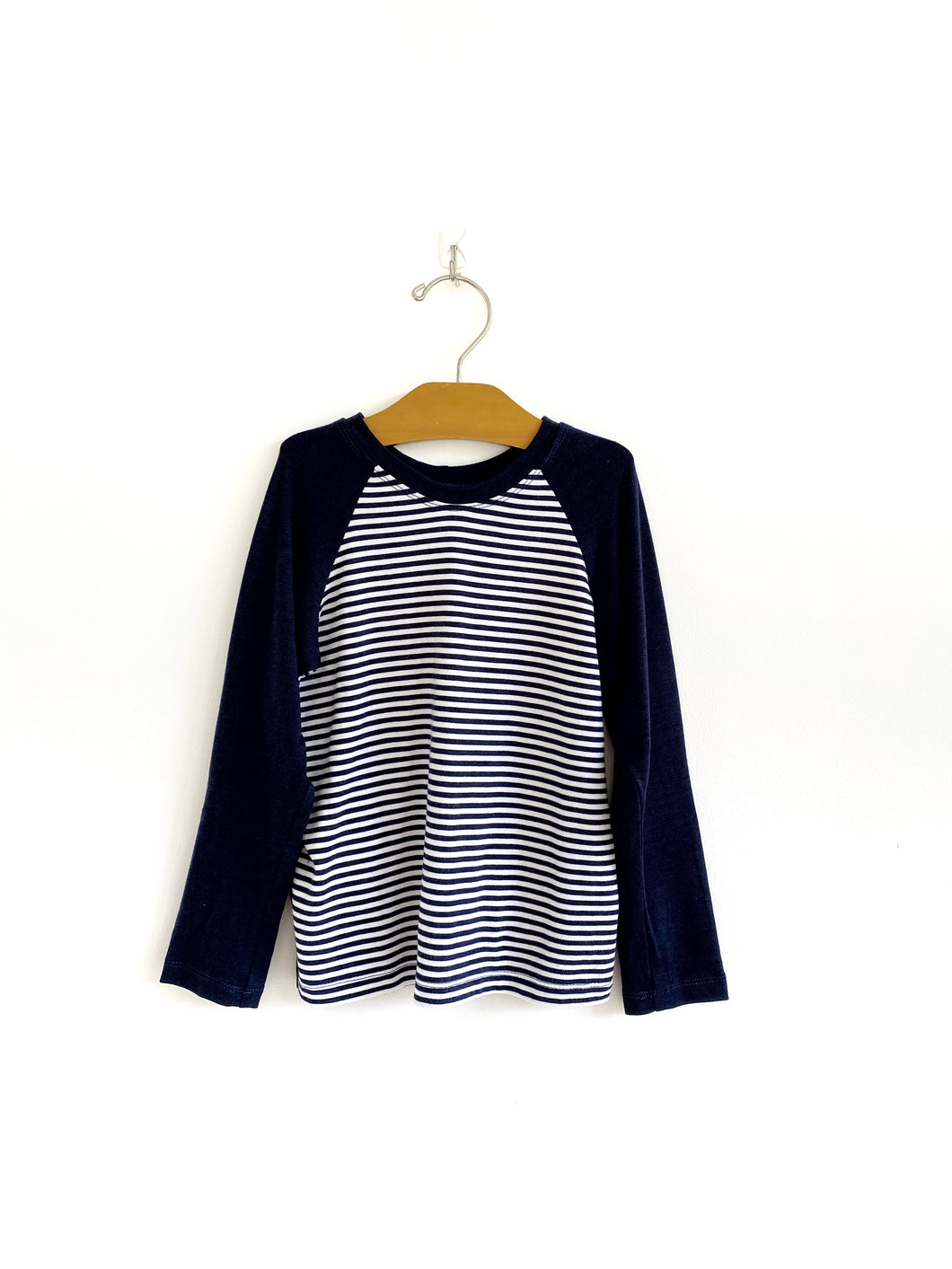 Long Sleeve Raglan - Navy Stripe/Navy