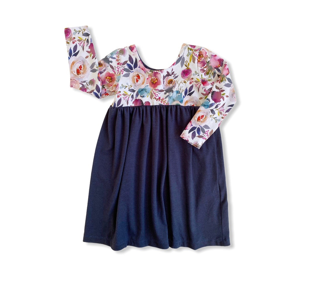 Luxe Dress - Navy/Autumn Floral
