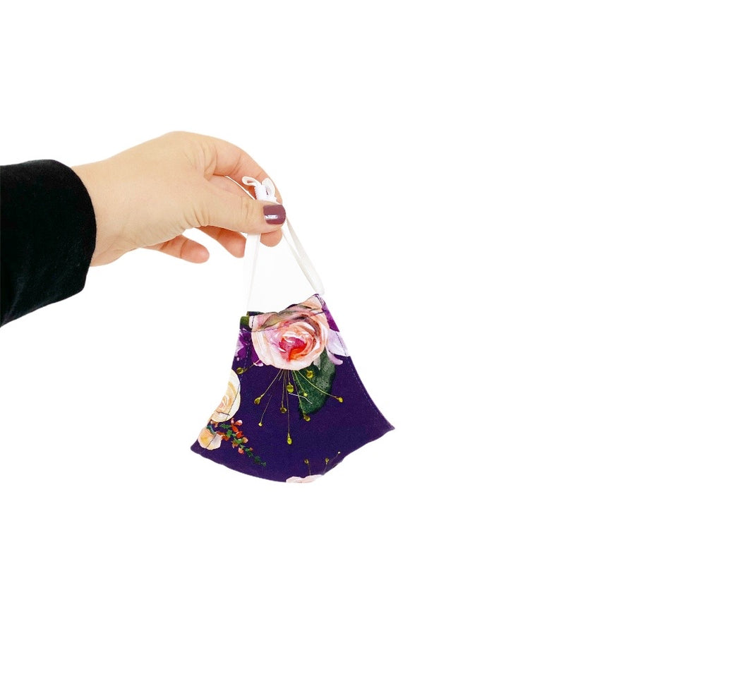 CHILD Shaped Mask - Plum Floral