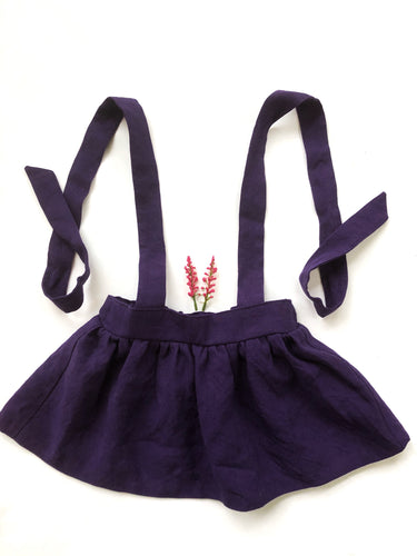 Suspender Skirt - Plum Linen