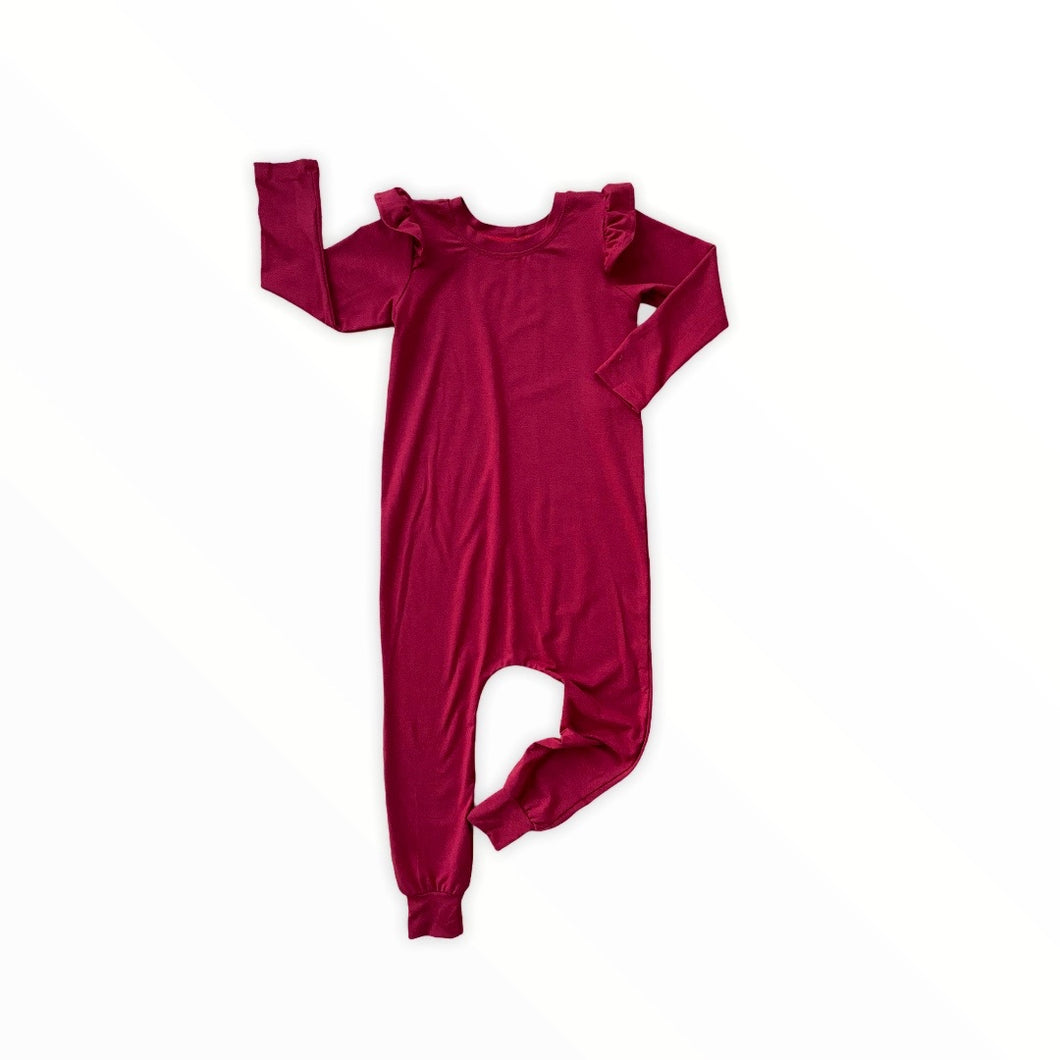 Long Sleeve Coverall with Flutter - Scarlet