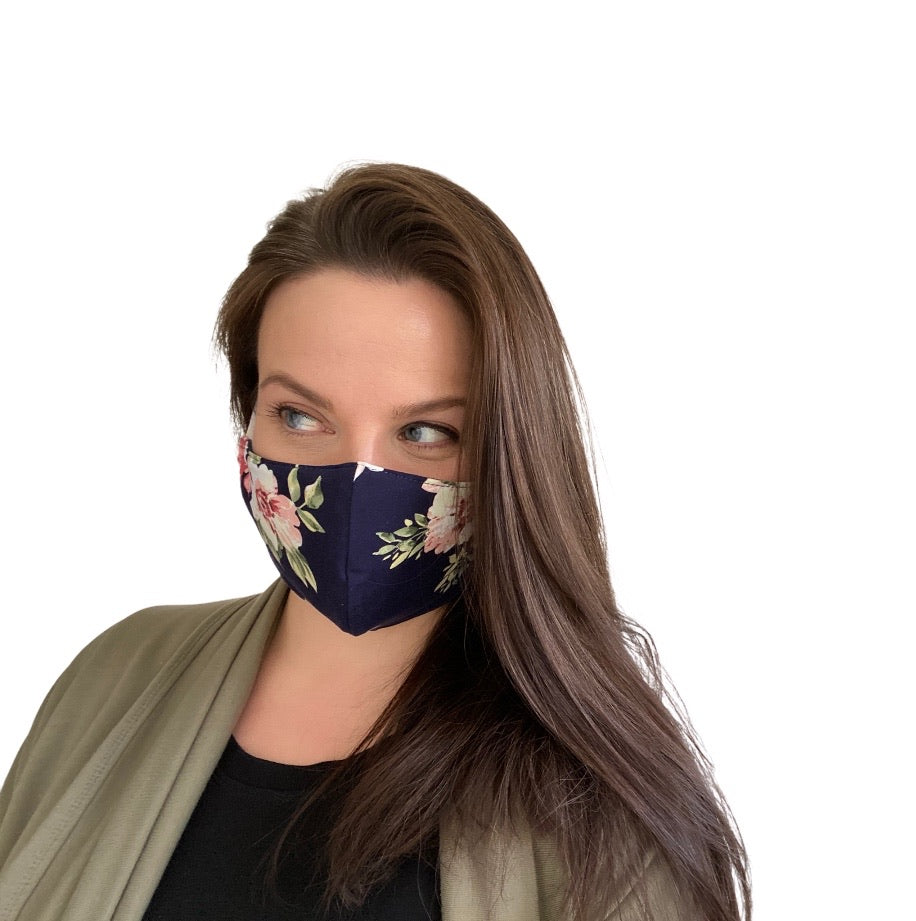 Shaped Mask - Navy Floral