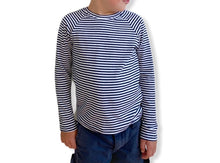 Load image into Gallery viewer, Long Sleeve Raglan - Navy Stripe