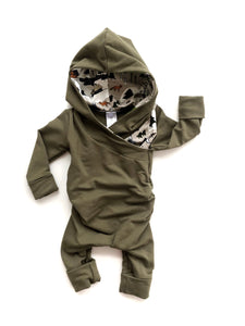 Grow Romper - Olive/Wilderness