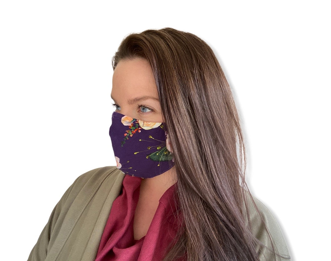 Shaped Mask - Plum Floral