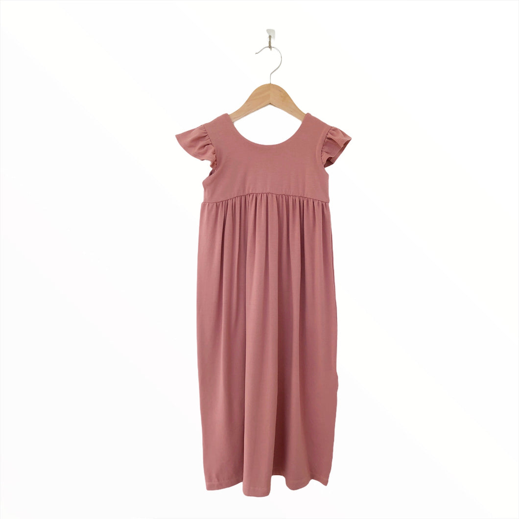 Mini Maxi Dress (With Flutter) - Ash Rose