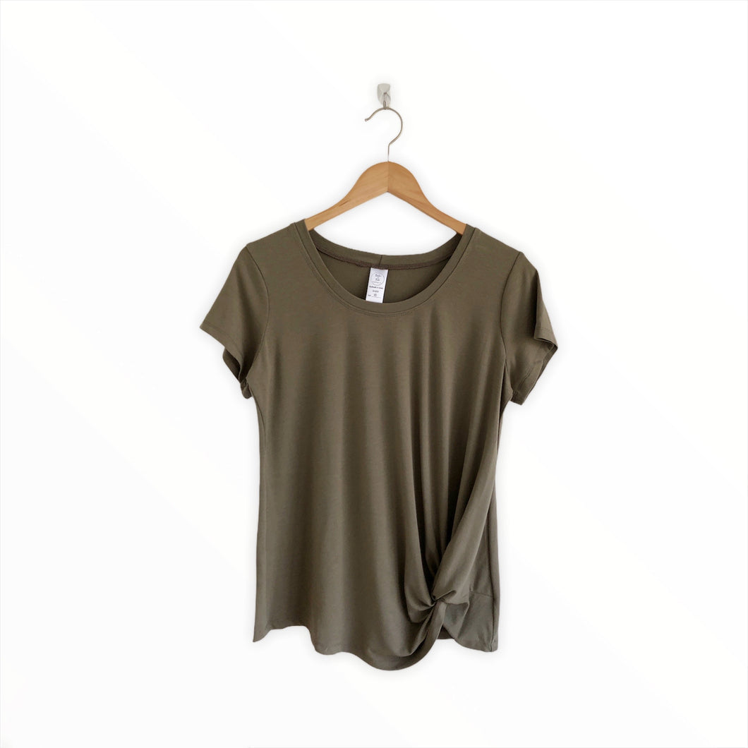 Ladies Knotted Tee - Olive