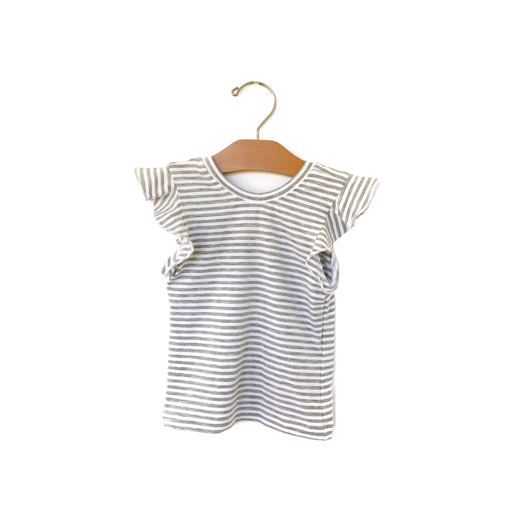 Flutter Fitted Top - Grey Stripe