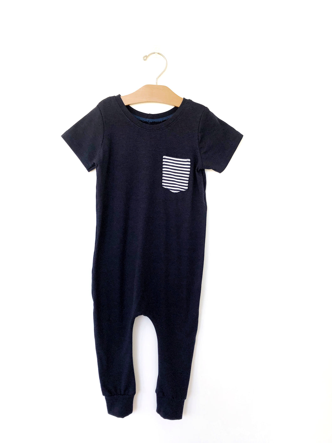 Coverall Romper - Navy/Stripe