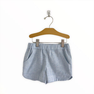 Curved Hem Shorts - Chambray