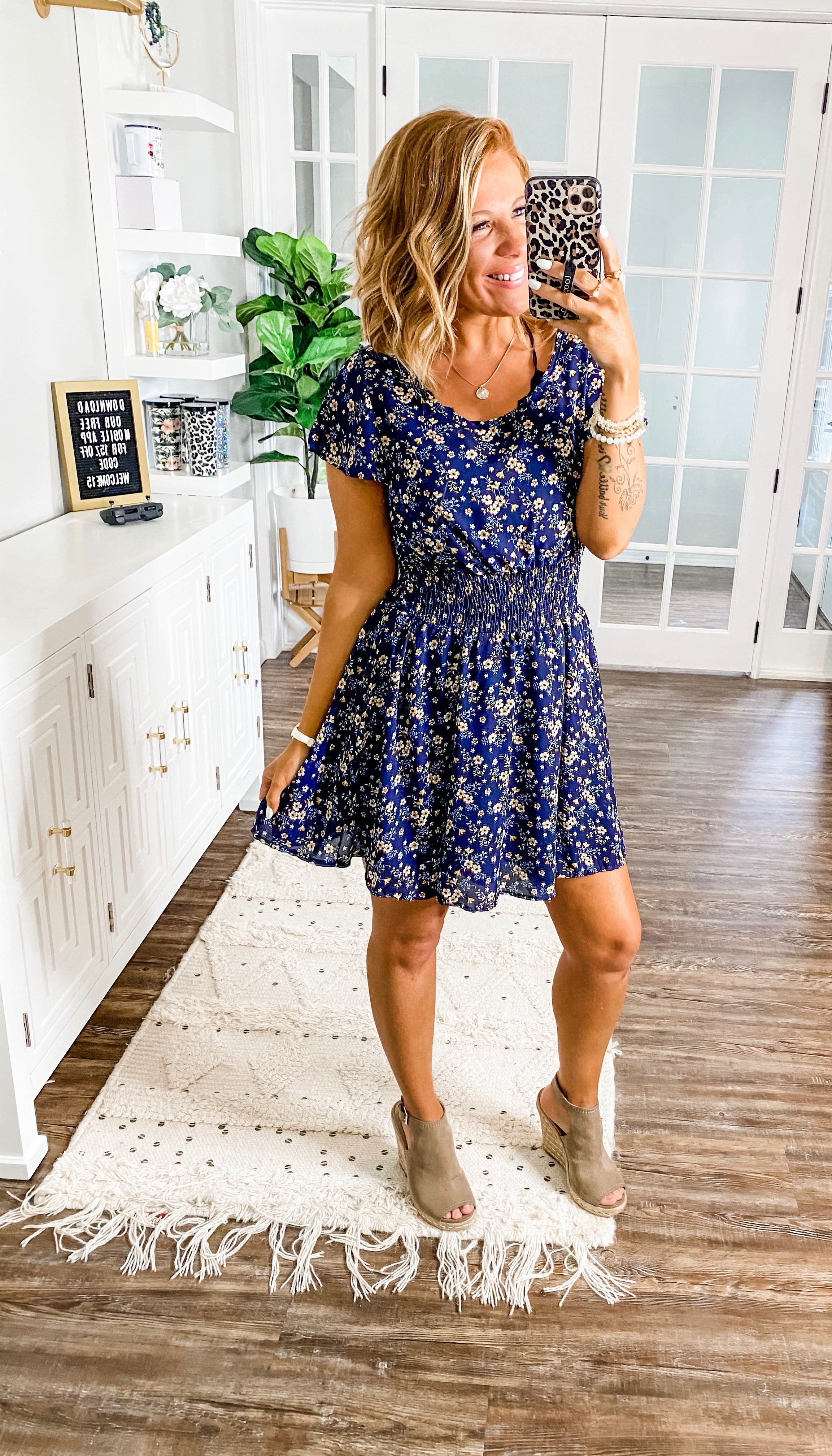 A Simple Request Navy Floral Dress