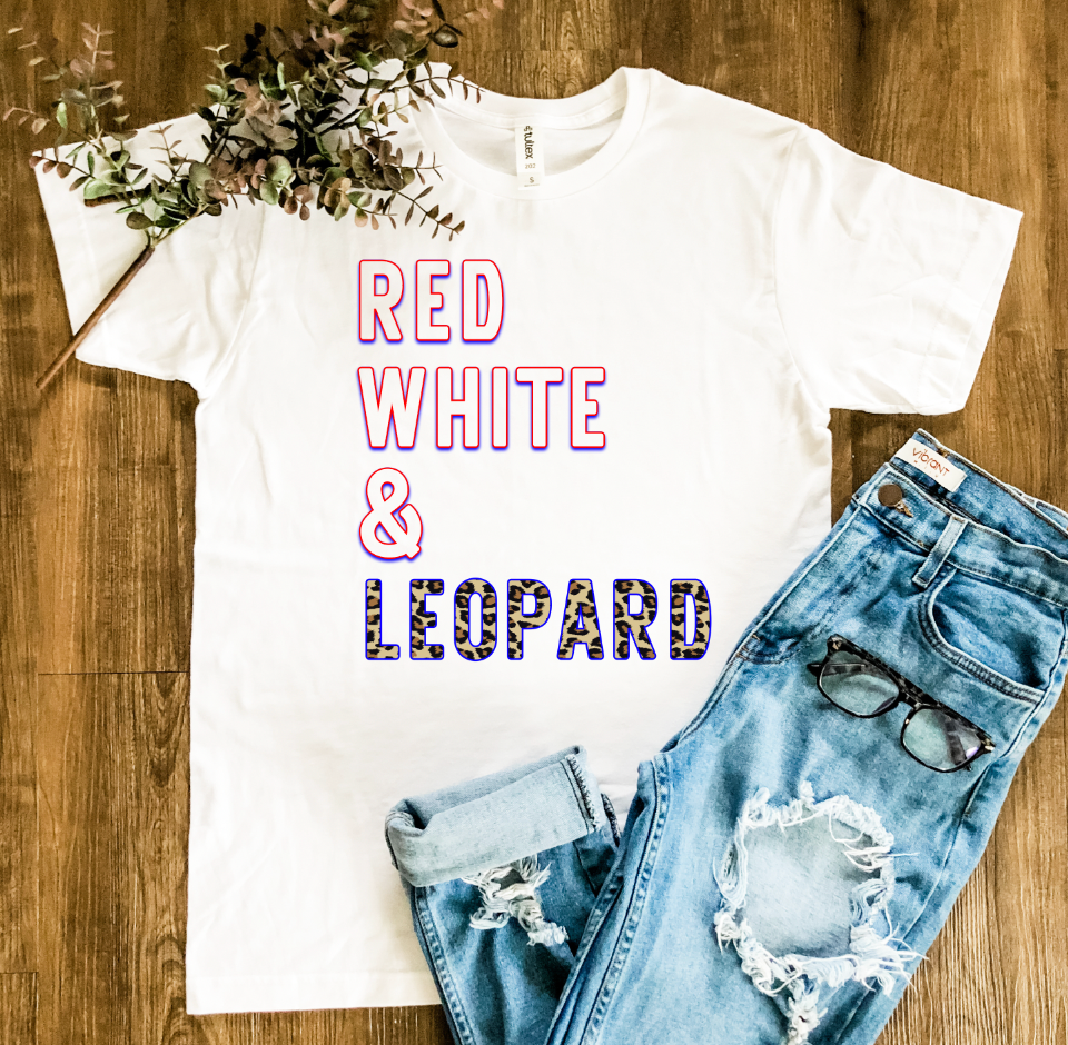 Red White & Leopard Graphic Tee