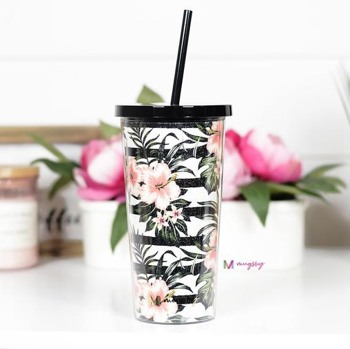 Tropical Floral Striped Tumbler With Straw