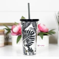 Black And White Palm Tumbler With Straw