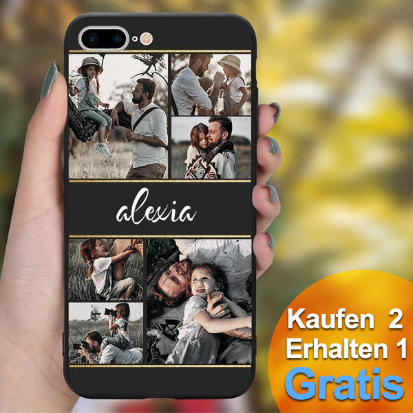 Personalisierte 6-Foto Collage iPhone Handyhülle - mit Namen