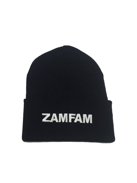Zamfam Beanie White on Black