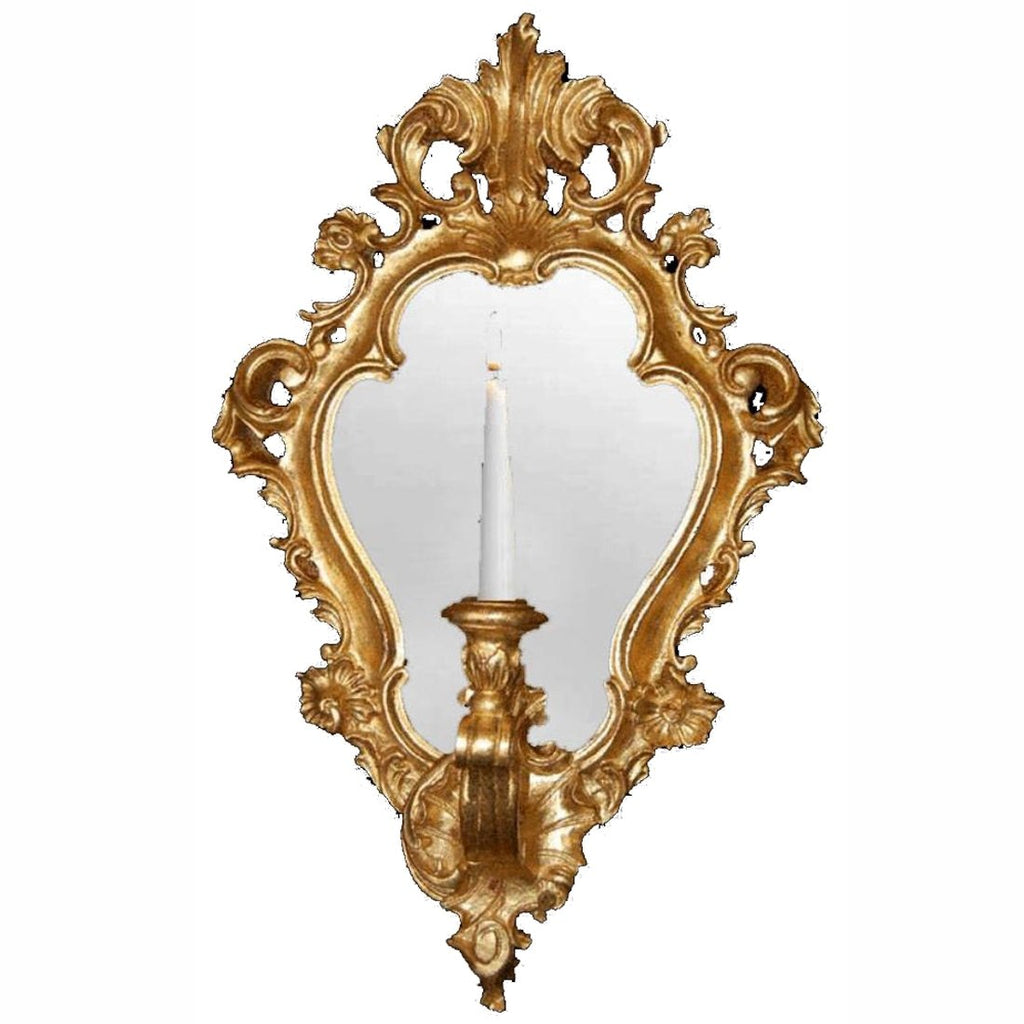 Gold Leaf Regence Mirror with Candleholder