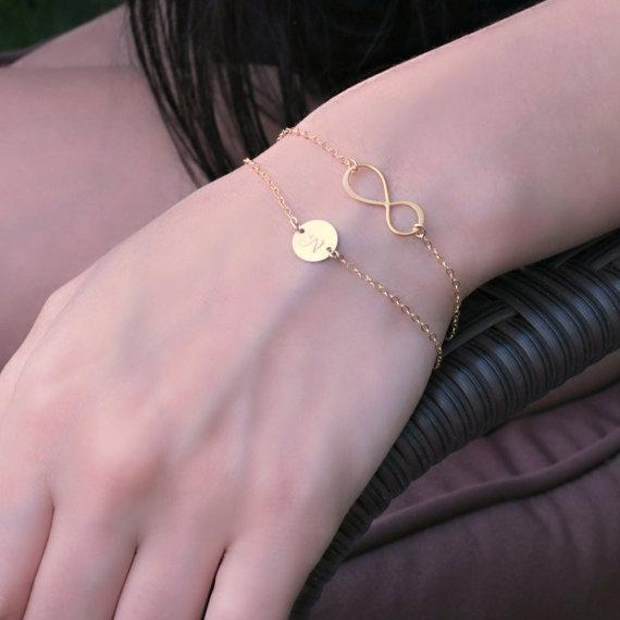 Layered Infinity Monogram 14K Gold Filled Bracelet