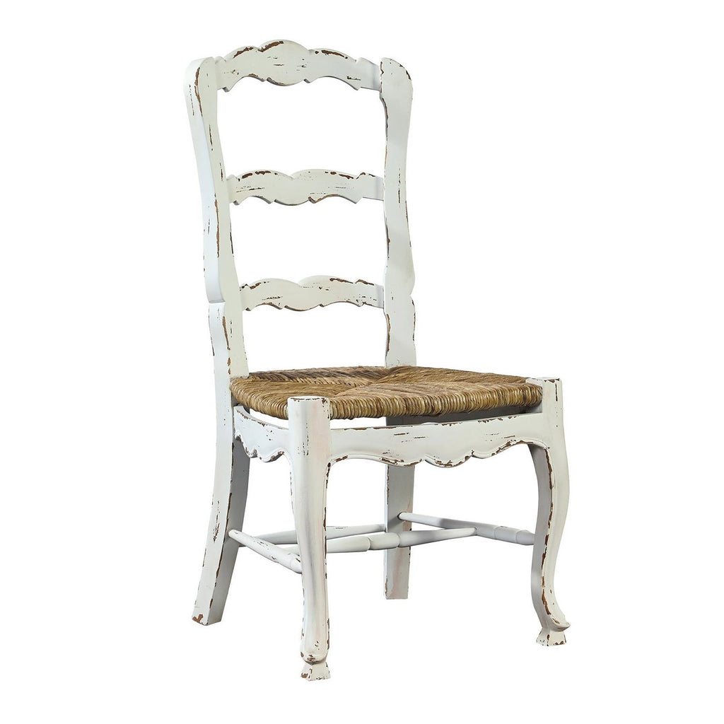 Mahogany Ladderback Side Chair in White