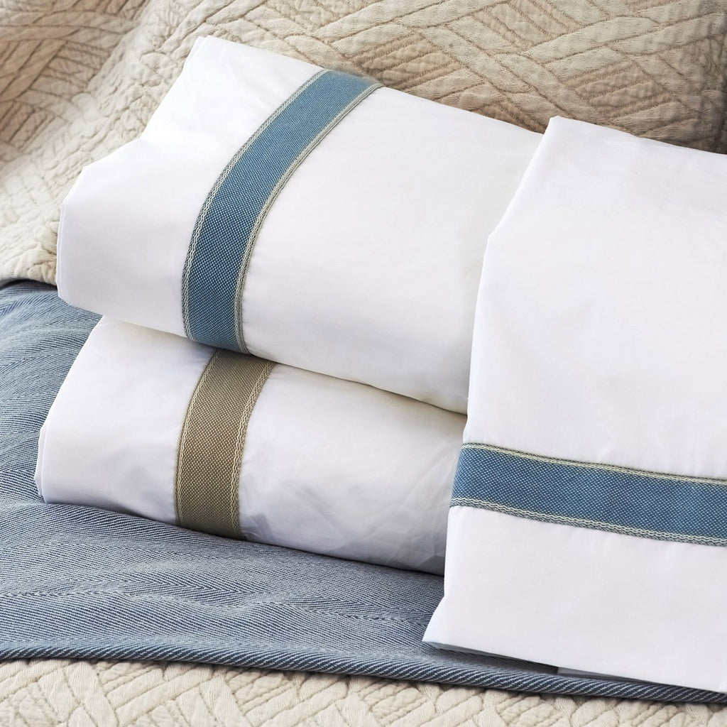 Standard Cotton Sheet Set with Linen Trim