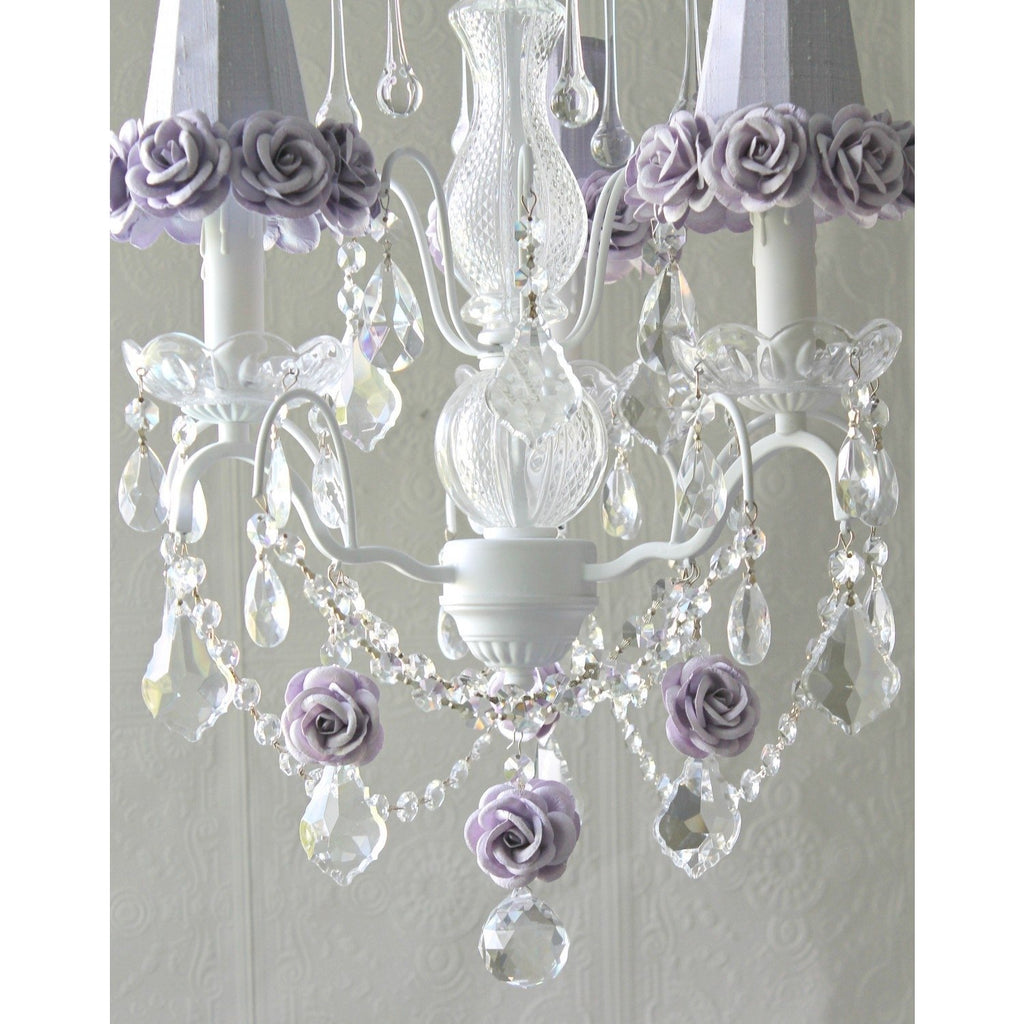 Lavender Rose Lamp Shade Chandelier