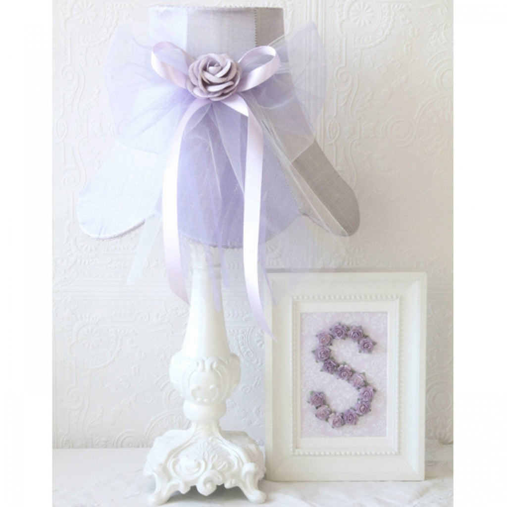 Lavender Dupioni Silk Lamp Shade with Tulle bow
