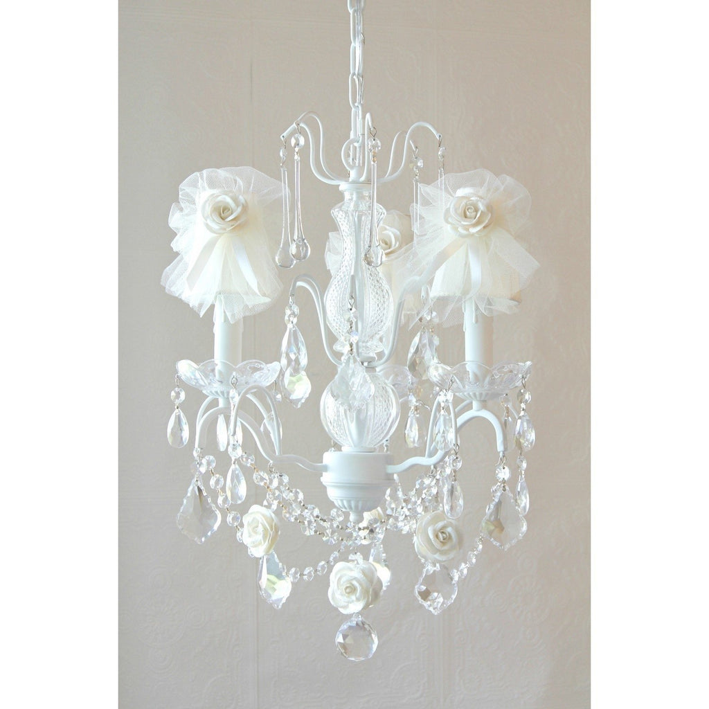 Cream Tulle Lamp Shade Chandelier