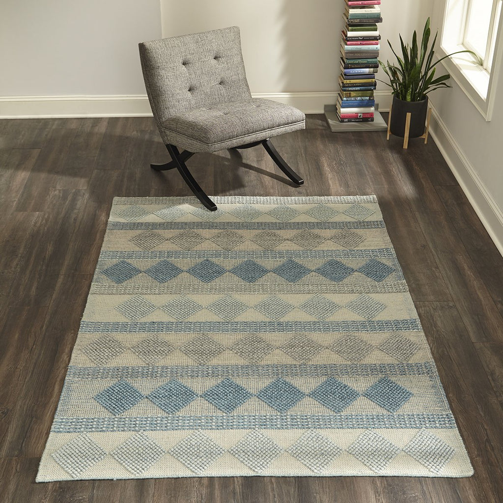 Blue Diamond Textured Rug