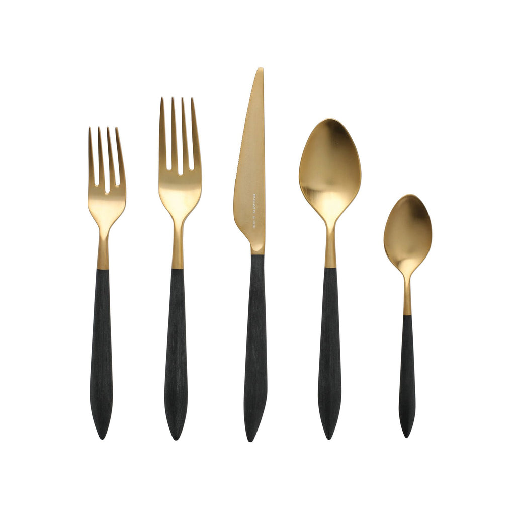 Ares Oro & Black Five-Piece Place Setting