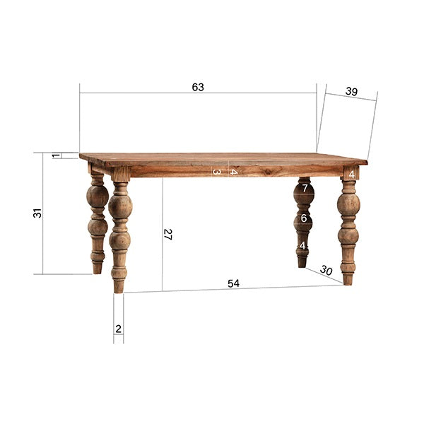 "Carlisle 62"" Farmhouse Dining Table"