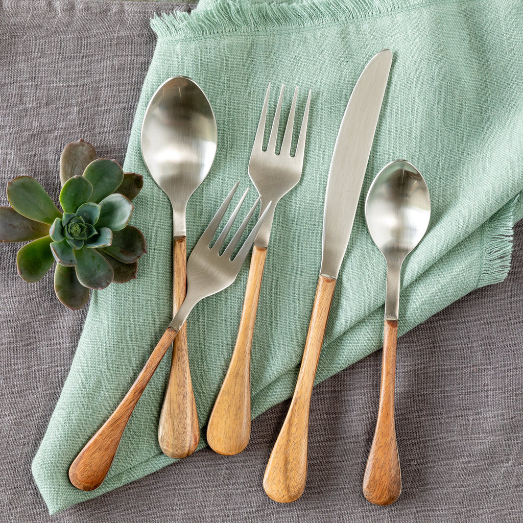 Steel and Wood Flatware - Set of 5