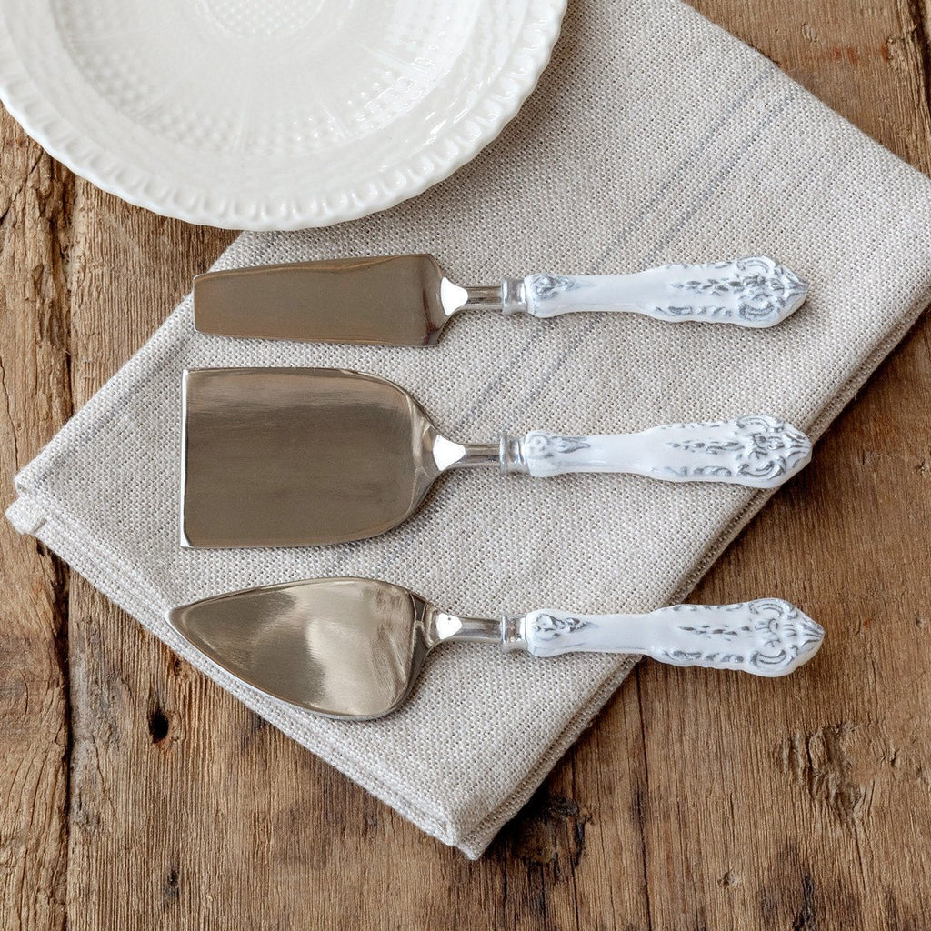 Milky White Enamel Enamel Cheese Servers - Set of 3