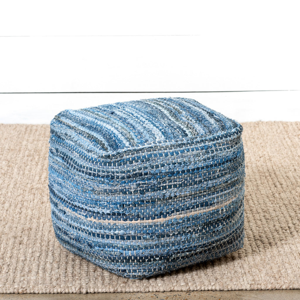 Woven Denim Pouf Cushion