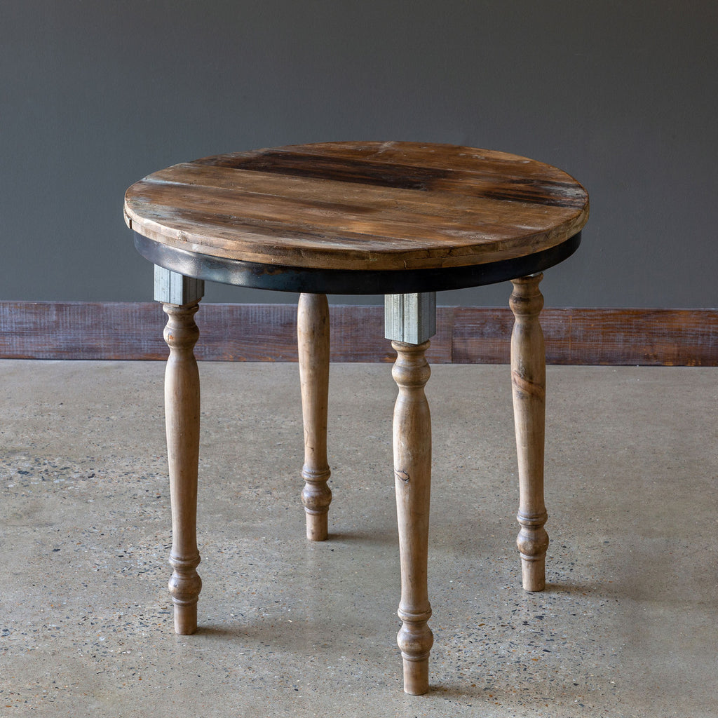 Fir Wood and Metal Round Table
