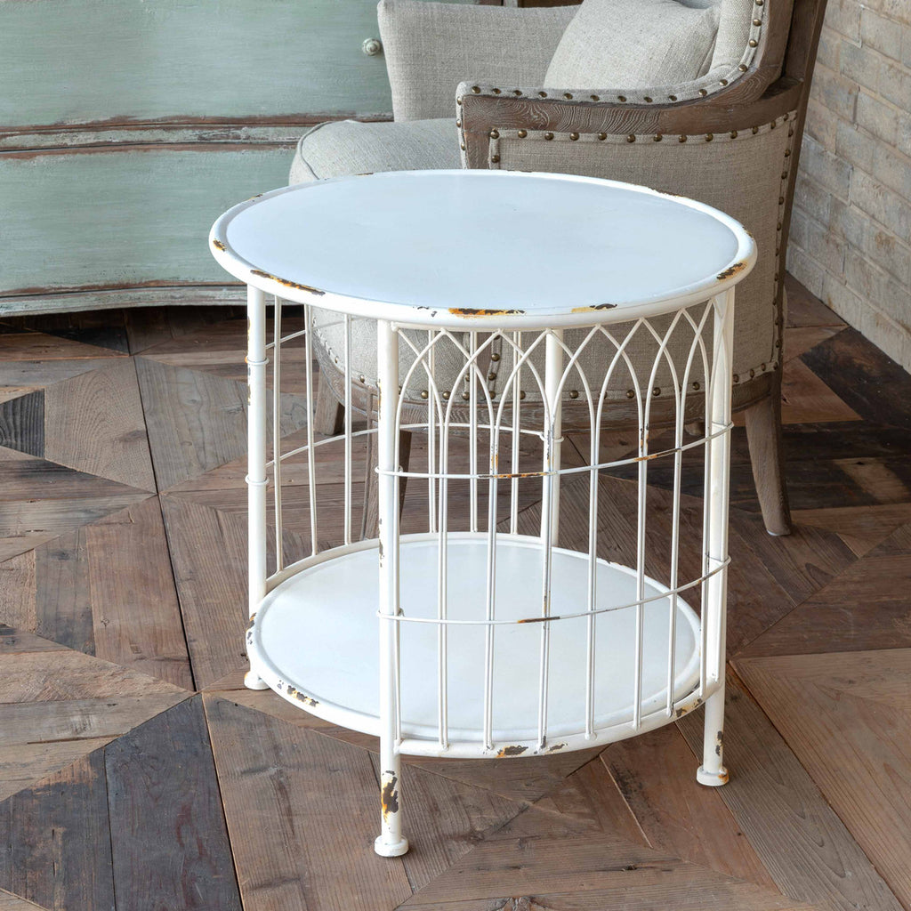 White Metal Wire Table