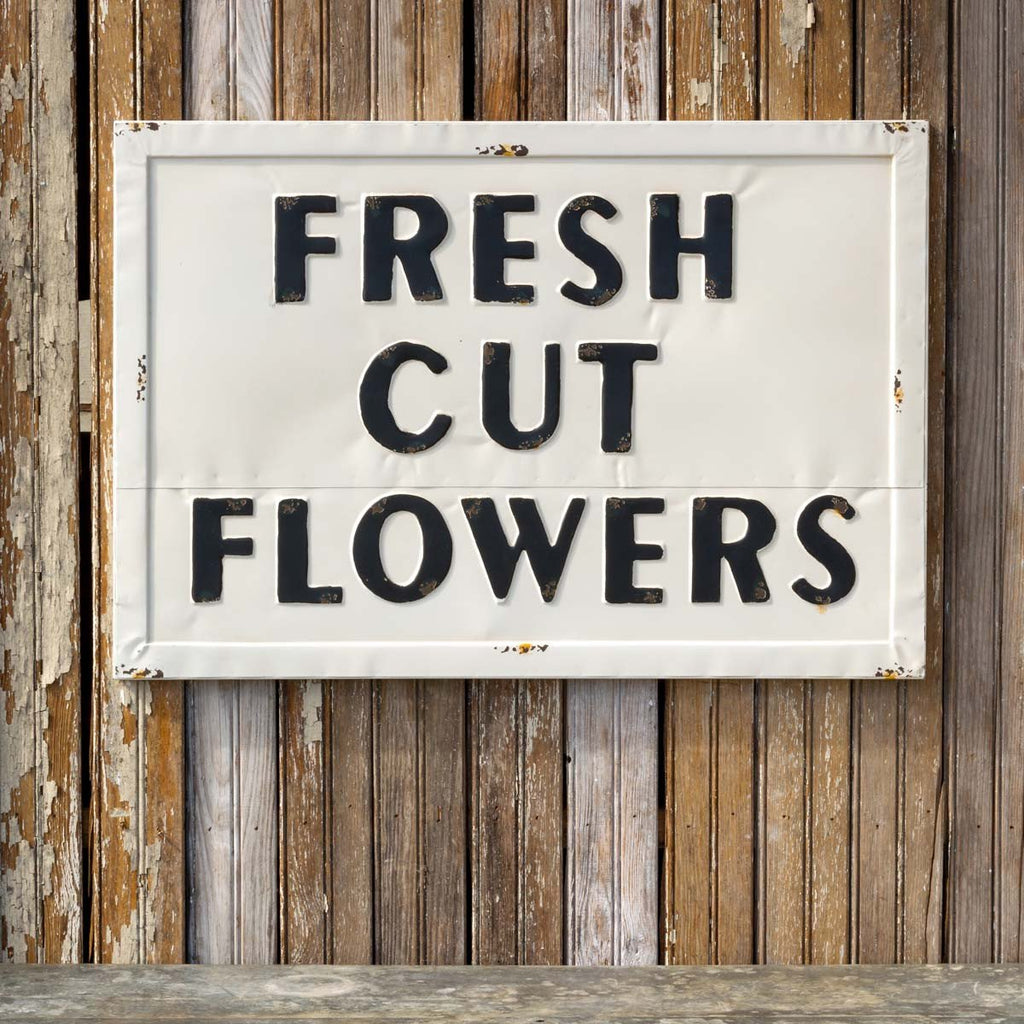 "Metal ""Fresh Cut Flowers"" Wall Decor Sign"