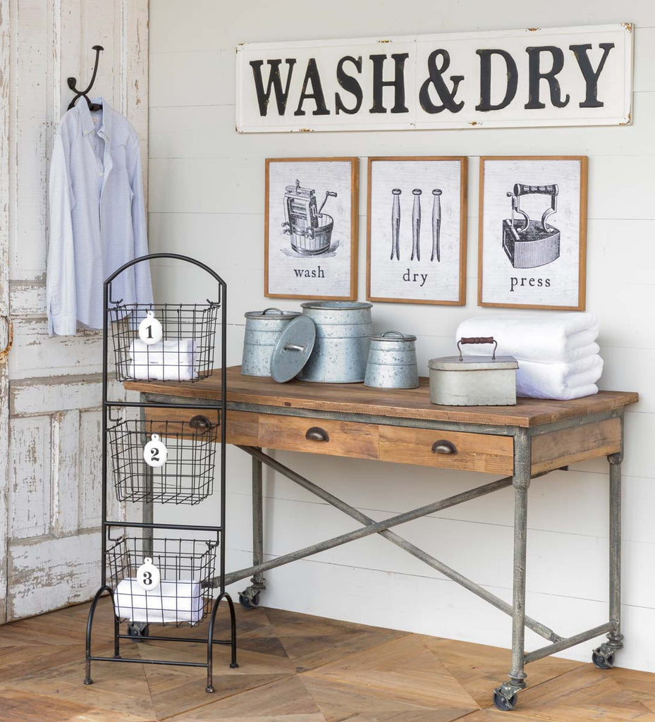 "Metal ""Wash & Dry"" Wall Decor Sign"