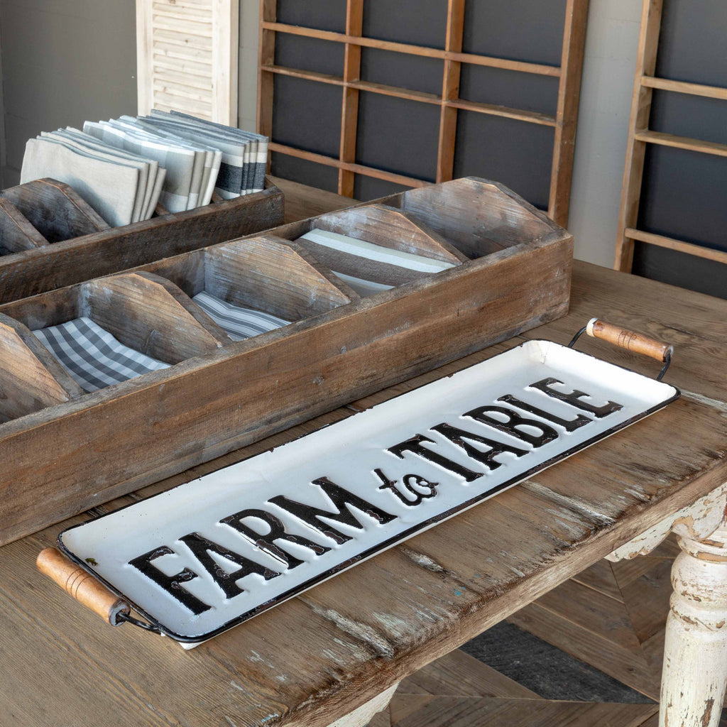 "Metal ""Farm to Table"" Tray"