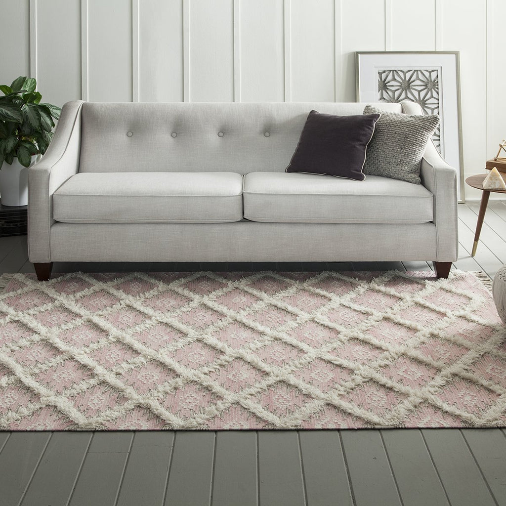 Pink Diamond Fringe Wool Rug