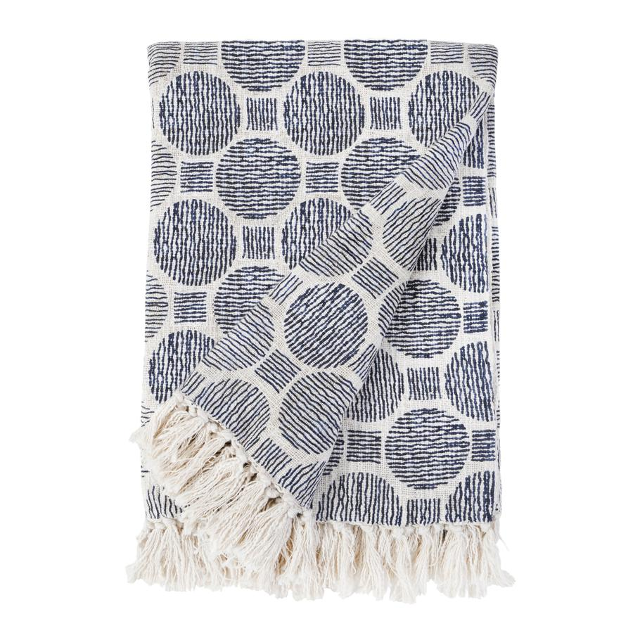 Pom Pom at Home Ian Oversized Natural/Navy Throw