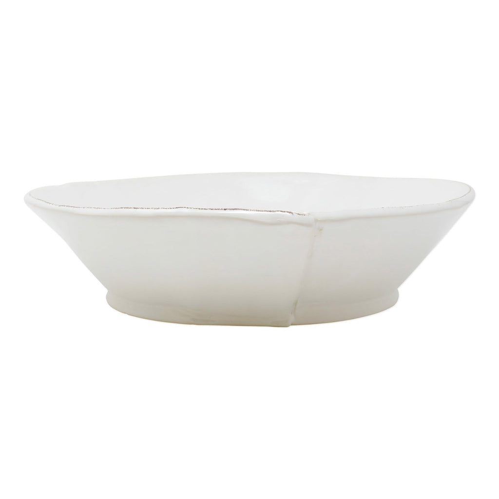 Lastra White Large Shallow Serving Bowl
