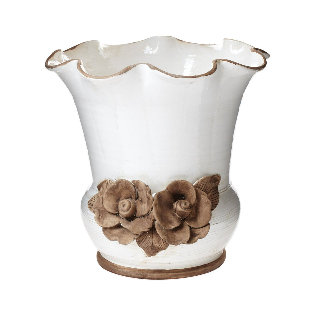 Rustic Garden White Scalloped Planter w/ Flowers