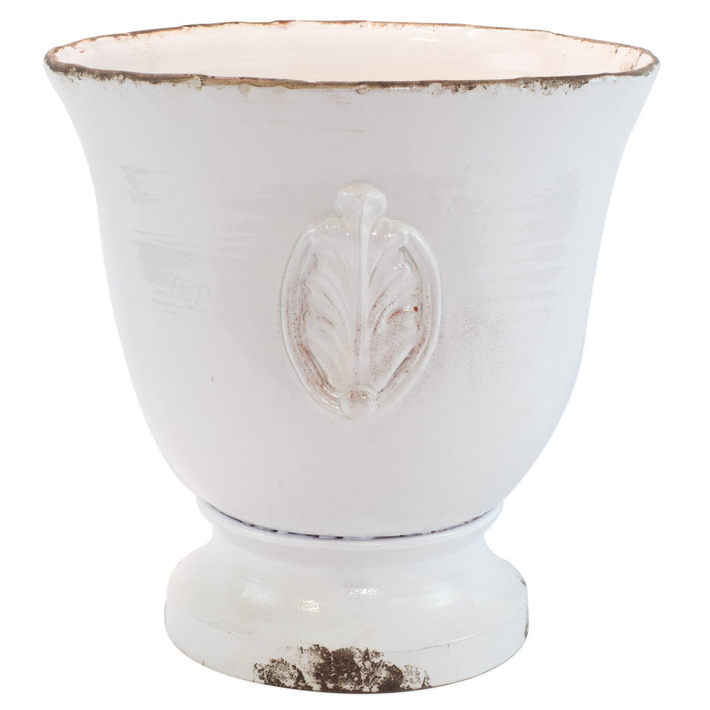 Rustic Garden White Large Footed Planter w/ Emblem
