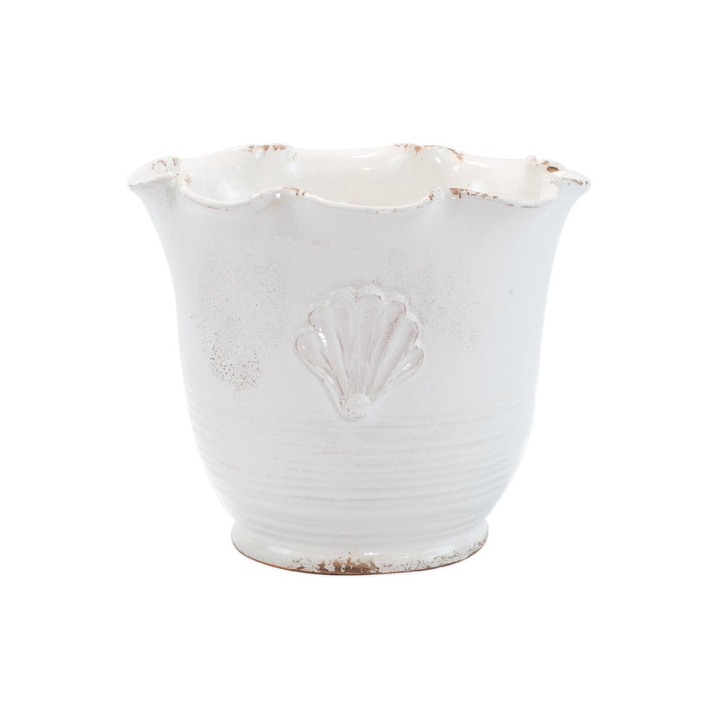 Rustic Garden White Small Scallop Planter w/ Emblem