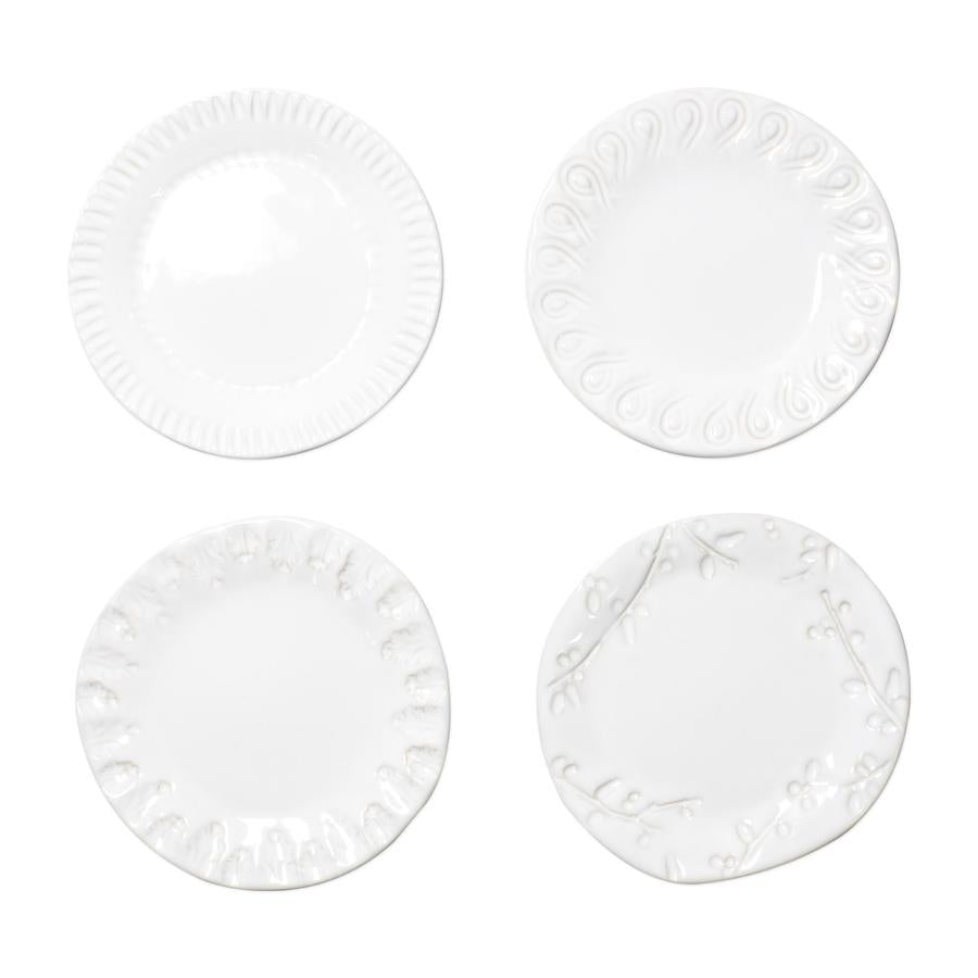 Incanto Stone White Assorted Canape Plates - Set of 4