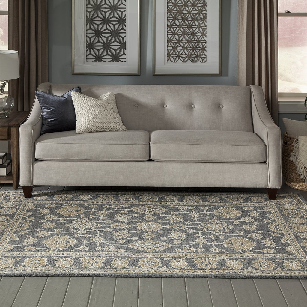 Grey and Gold Regal Border Rug