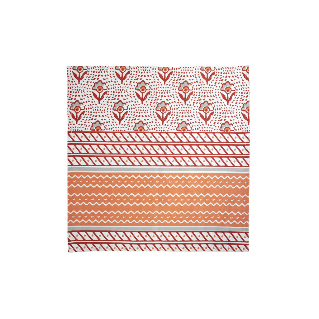 Bohemian Linens Gray/Orange Napkins - Set of 4